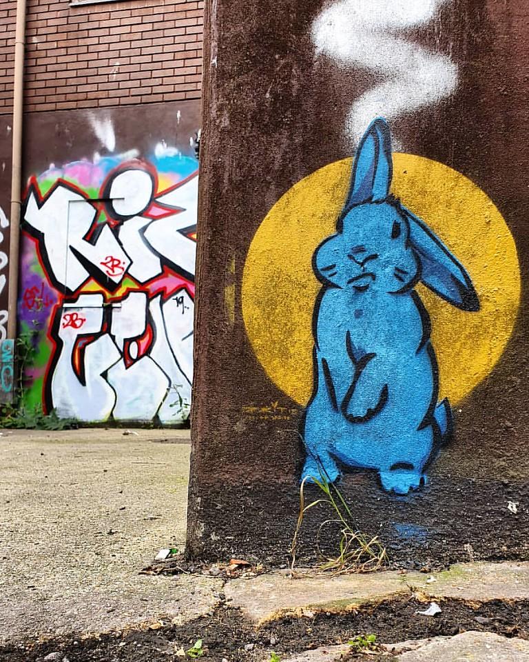 bunny mural - Street Artist Sprite's Inspiring Mental Health Message - StreetArtChat.com