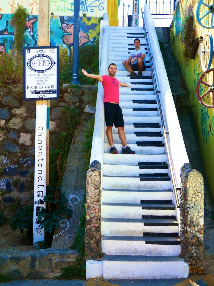 Best street art by Valparaiso of piano stairs