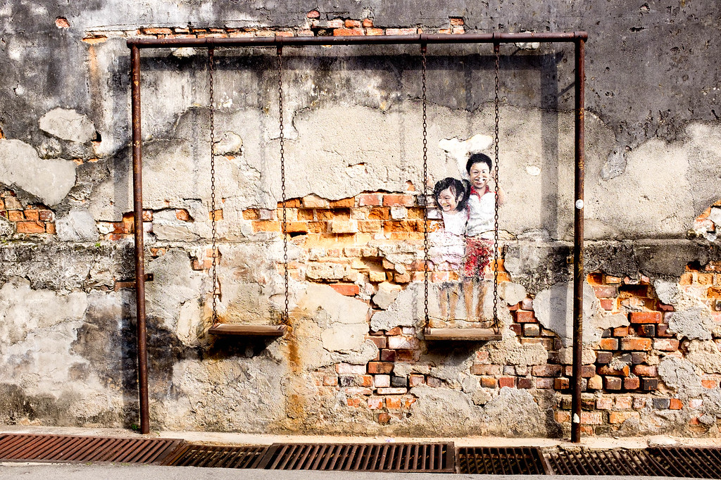 Louis Gan - Brother and Sister on a Swing street art