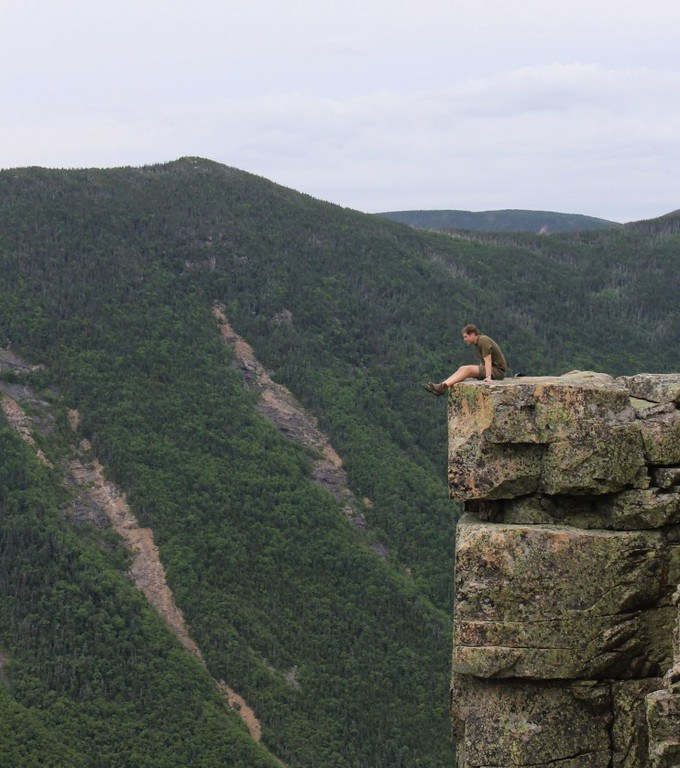 Frank facing his fear of heights on the edge of Bondcliff