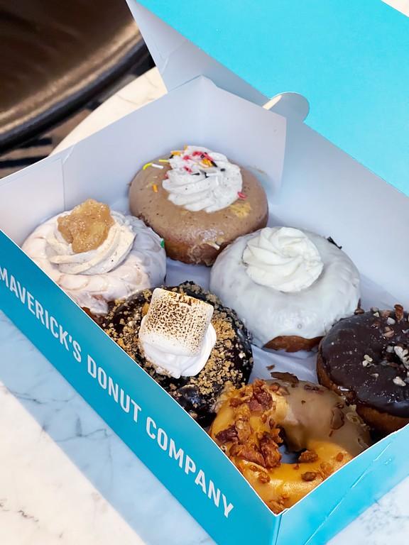 A box of signature donuts from Maverick's Donuts