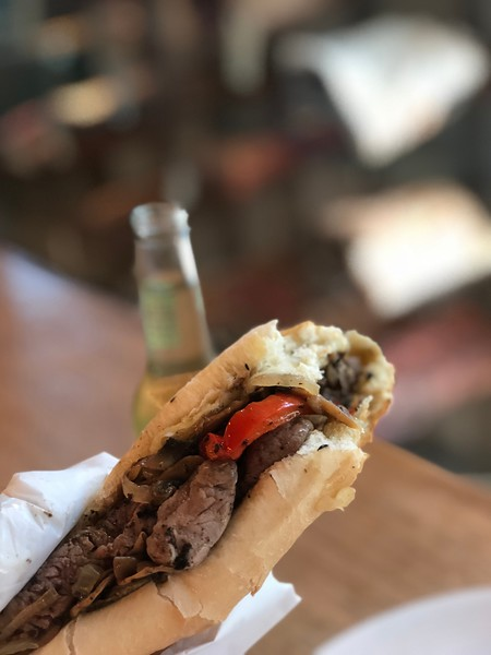A delicious Philly cheesesteak sandwich in Griffintown, Montreal