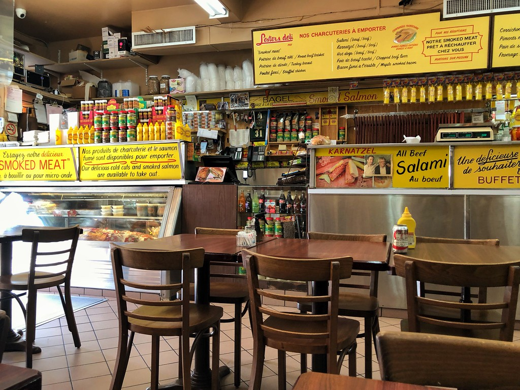 The counter at Lester's Deli in Montreal, Quebec