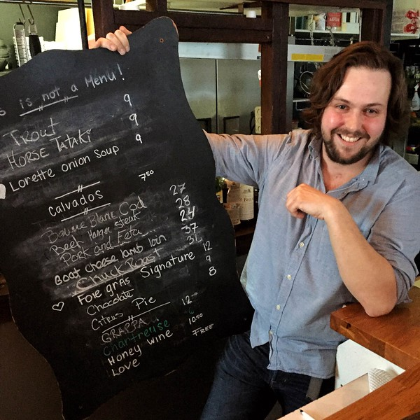 The menu at iX Bistro in Quebec City