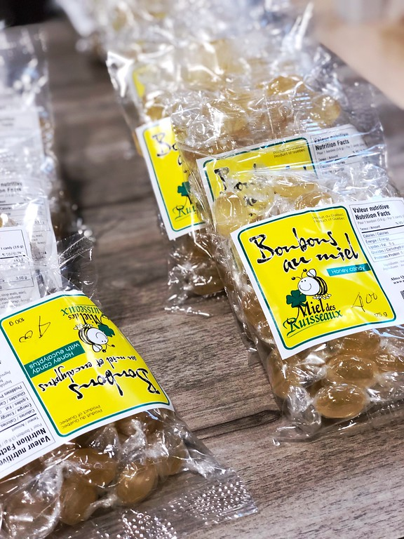 Honey candies from Miel des Ruisseaux at Le Grand Marché in Quebec City