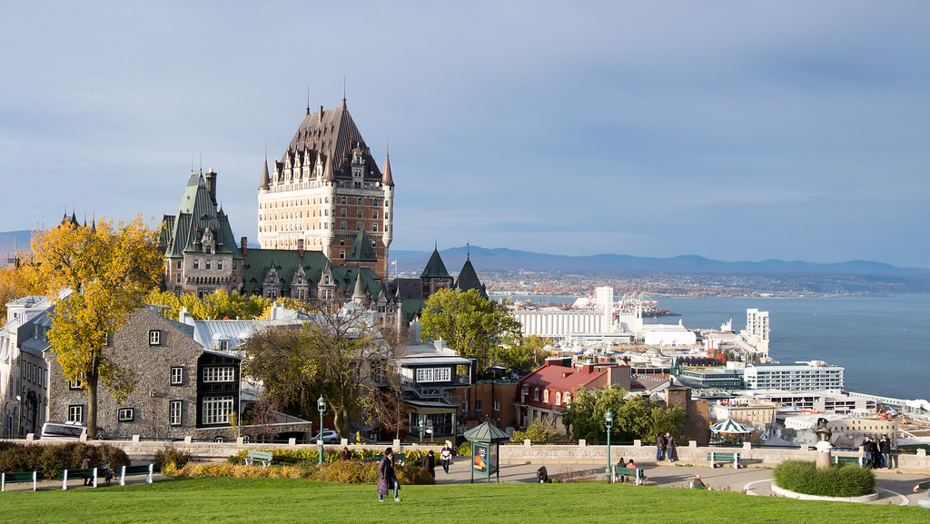 View of Château Frontenac and Old Quebec City from above Terasse Pierre-Dugua-de-mons