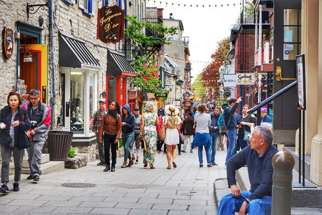 Walking down rue Petit-Champlain, one of the oldest shopping streets in Quebec City!