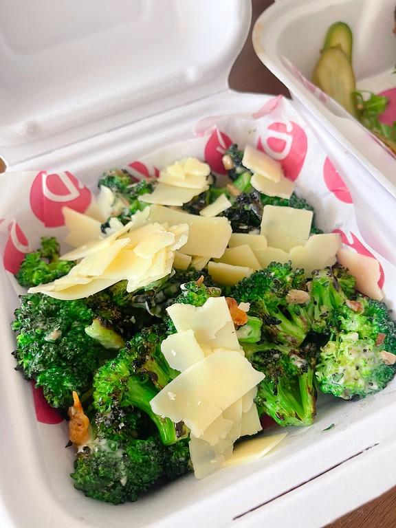 Grilled broccoli Caesar salad at L'Orygine is quite tasty