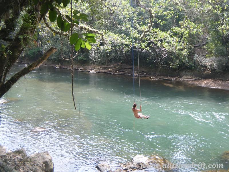 rope swing Semuc Champey, Guatemala