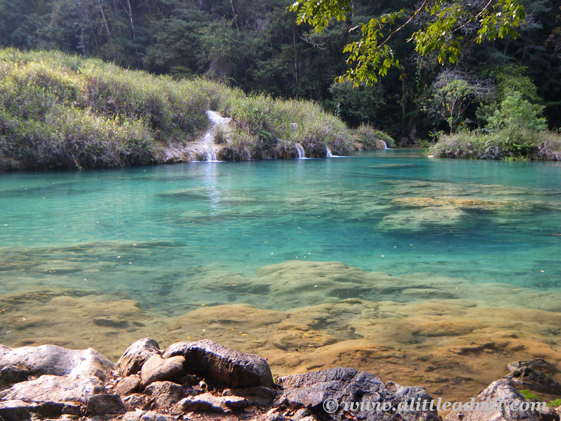 Pretty pools of water and waterfalls and tiny caves along the Cahabón River