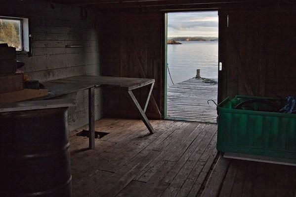 Fisherman's shack open door, Newfoundland, Canada
