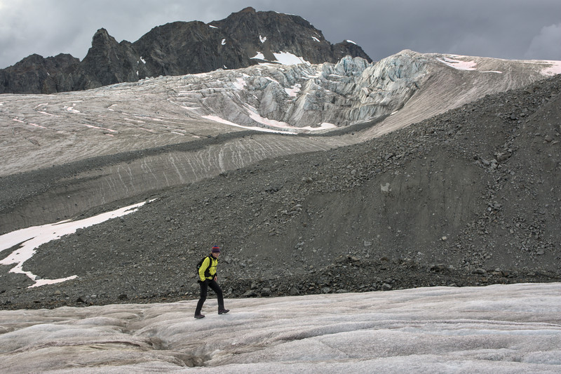 A hiker on the Gulkana Glacier
