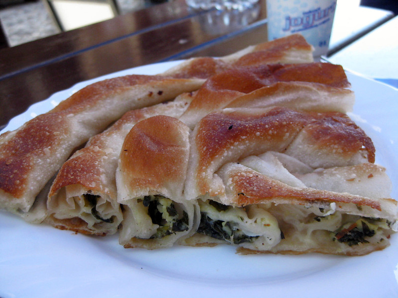 a cheese and spinach burek pita in Bosnia