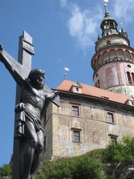 The pretty pink castle tower in Cesky Krumlov, Czech Republic