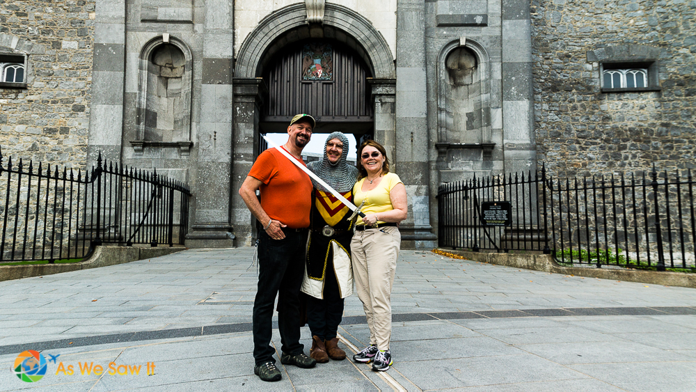 Posing with a costumed character who gave a tour in Kilkenny Ireland.