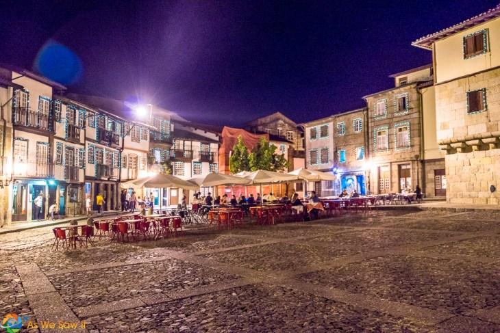 Olive Square at twilight, Guimaraes Portugal
