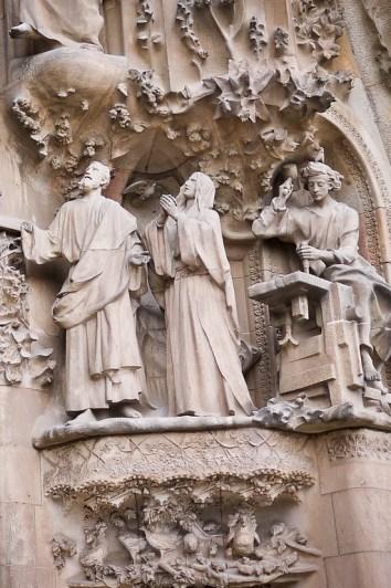 Gaudi's façade of La Sagrada Familia in Barcelona, Spain