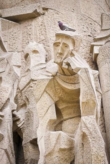 The Passion façade of La Sagrada Familia in Barcelona, Spain
