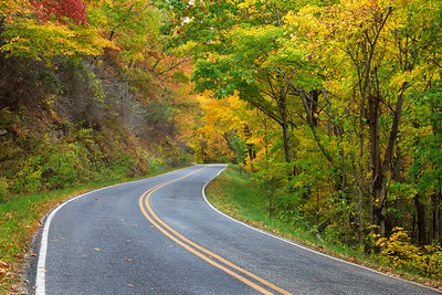 Mountain road in the fall