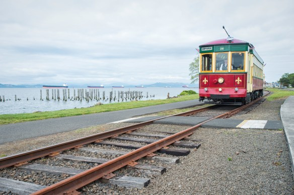 Astoria Riverfront Trolley along the Columbia River