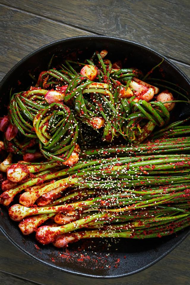 Traditional Korean Green Onion Kimchi
