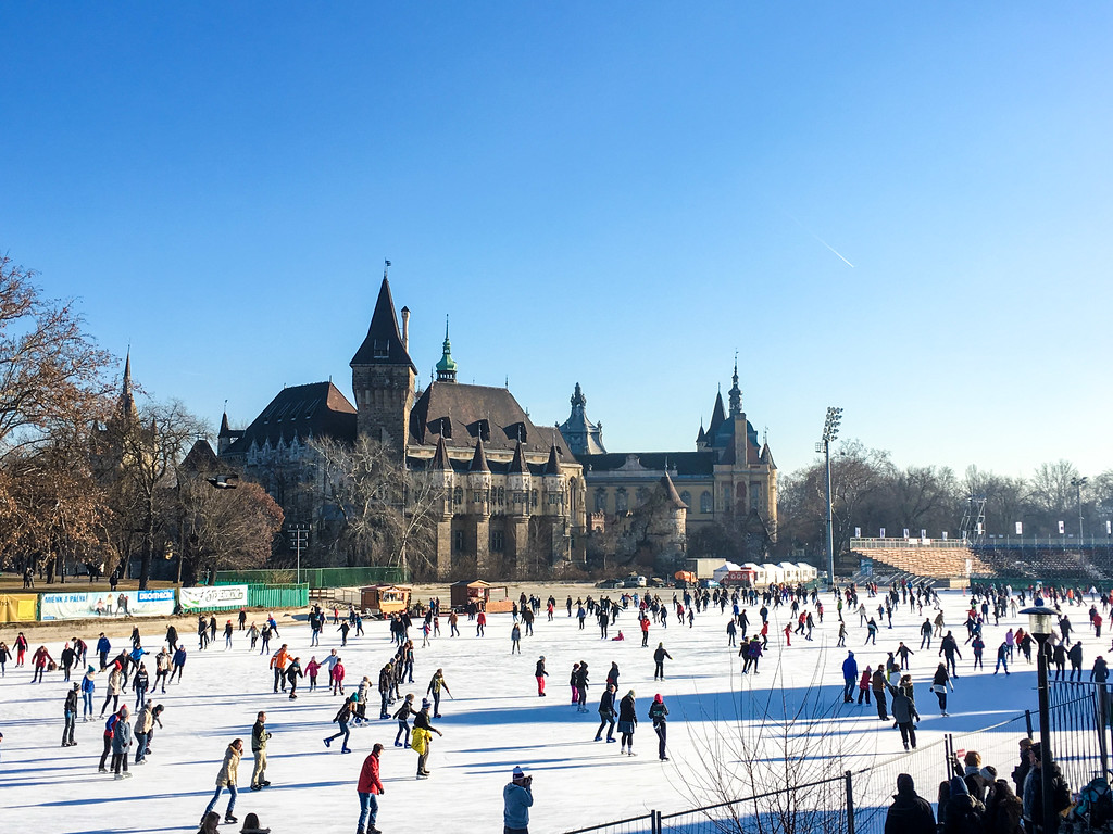 Ice skating is one of many things to do in things to do in budapest alone