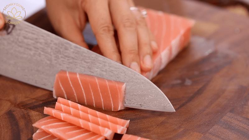 Vegan Sashimi Rice Bowl, slicing vegan sashimi