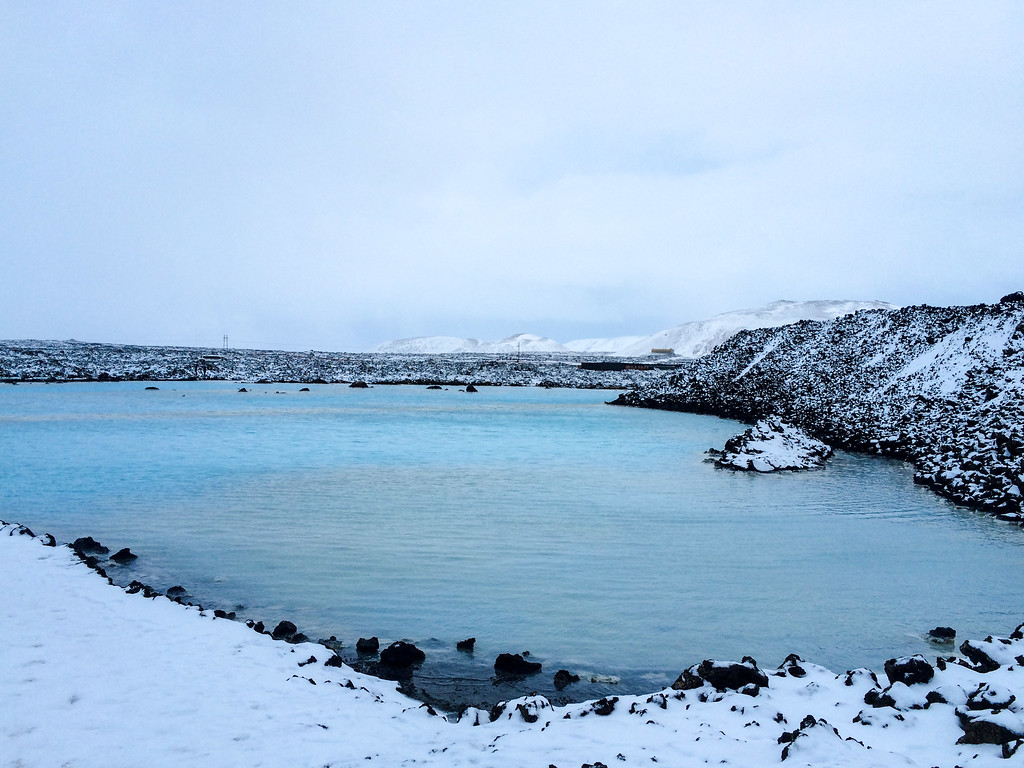 winter blue lagoon scenic view