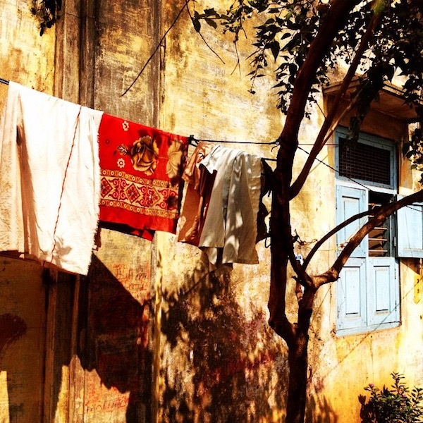 Clothes on hang line from India trip