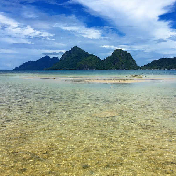 view from Las Cabanas Beach in El Nido on the island of Palawan