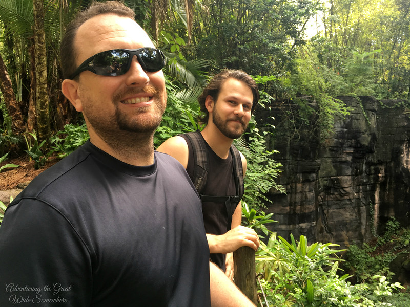 Dan and Jared at Animal Kingdom on the Gorilla Exploration Trail, Walt Disney World