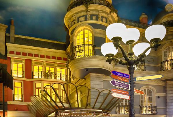 Paris buildings at night in Las Vegas