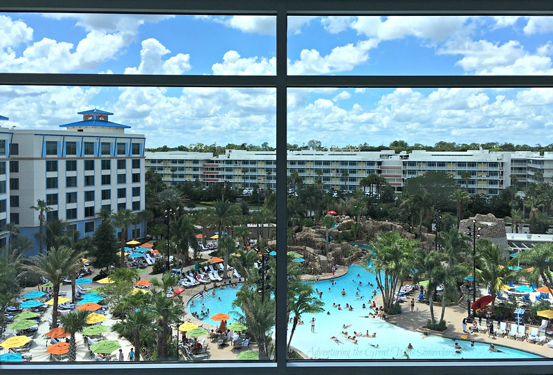 The Loews Sapphire Falls Resort pool, as seen from the massive windows by the elevators.