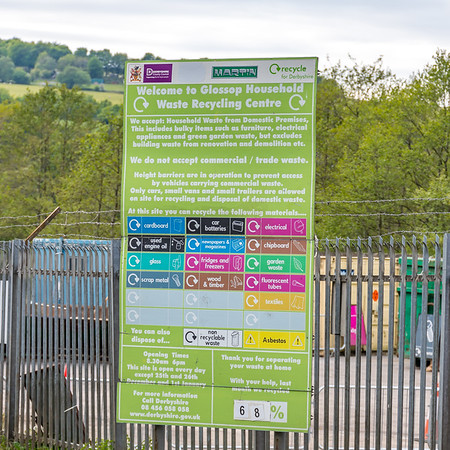 Photo of the entrance sign at Glossop HWRC
