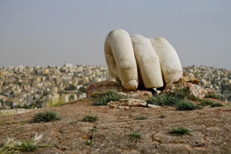 Hercules' hand at citadel hill in Amman