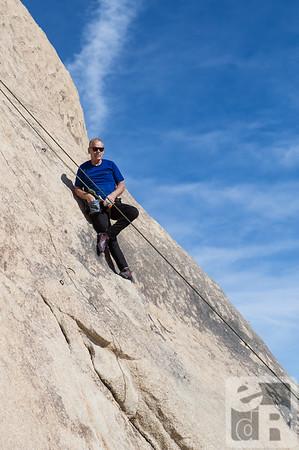 John Long chalks up on a climb in Joshua Tree