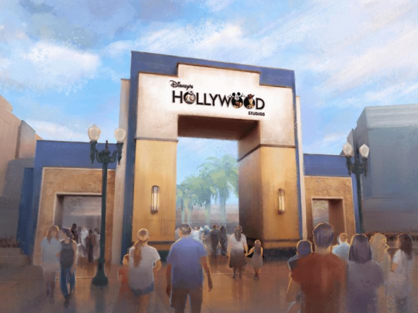 disneys hollywood studios new entrance marquee logo