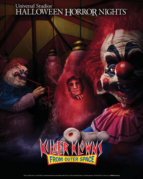 "Metro Goldwyn Mayer's (MGM) ""Killer Klowns from Outer Space"" lands at this year's ""Halloween Horror Nights"" in all-new chilling mazes at Universal Studios Hollywood and Universal Orlando Resort."