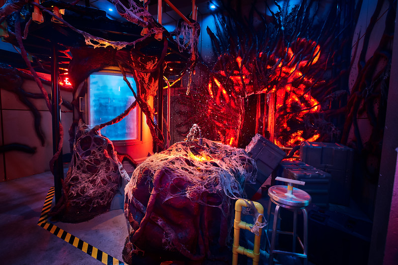 "Today, Universal Studios reveals first look images from the ""Stranger Things"" haunted houses coming to Halloween Horror Nights 2018."