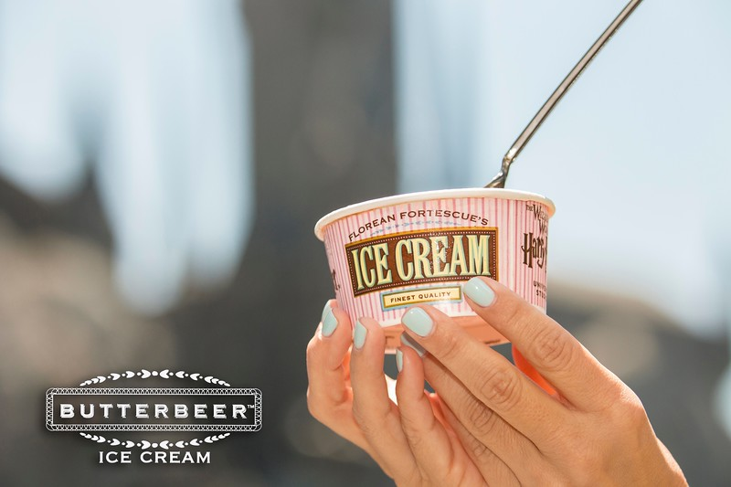 """Butterbeer ice cream at """"The Wizarding World of Harry Potter"""" at Universal Studios Hollywood."""