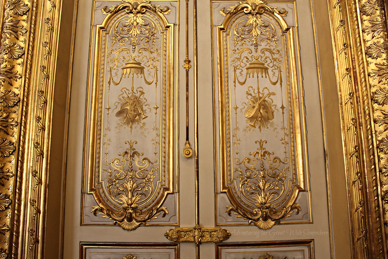 Two beautiful gold and ivory doors in Napoleon's personal apartments inside the Louvre