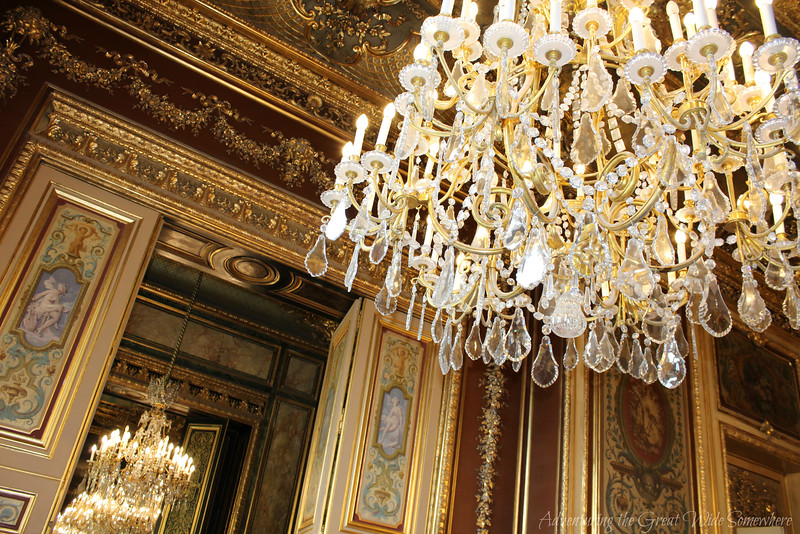 Detail shot of a beautiful chandelier in Napoleon's grand salon at the Louvre