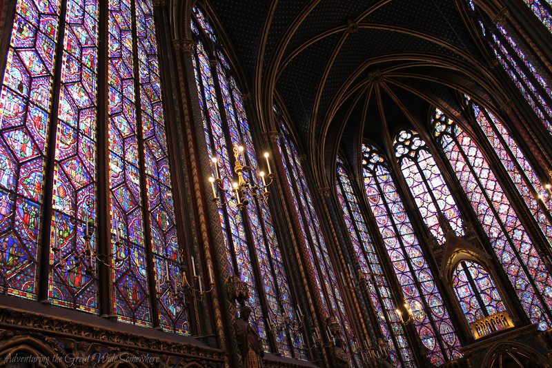 The colorful stained glass windows of the upper chapel at Sainte-Chapelle.