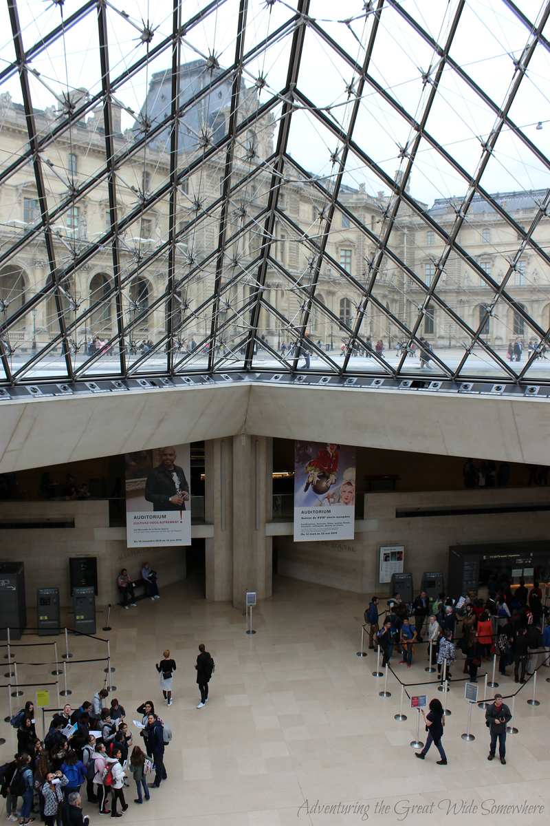 The main lobby of the Louvre Museum in Paris