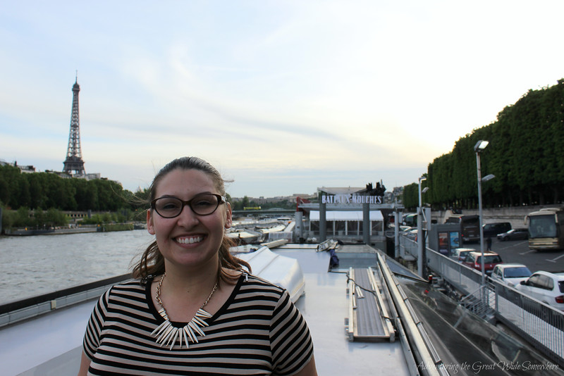 Myself with the Eiffel Tower from the Top Deck of our Bateaux Mouches dinner cruise