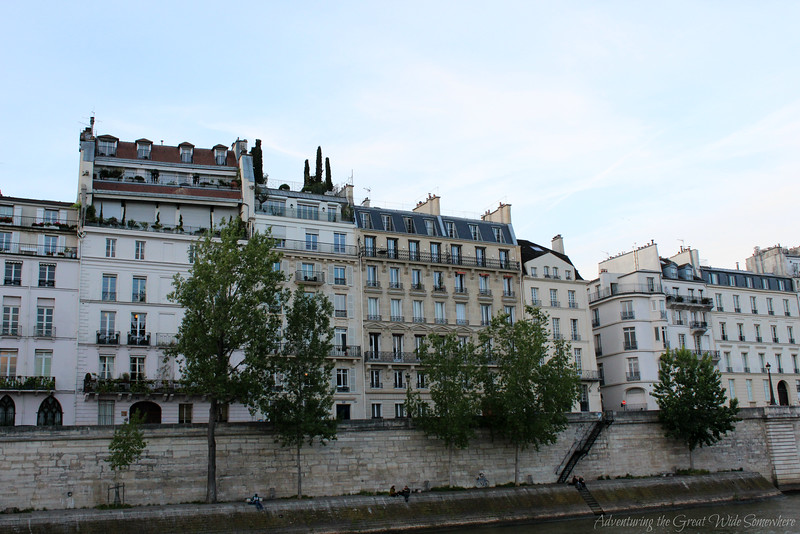 Beautiful Parisian residential buildings, seen from the Bateaux Mouches dinner cruise