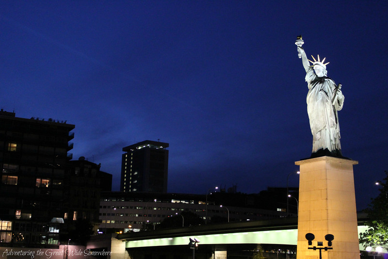 The replica Statue of Liberty in Paris, seen from our Seine dinner cruise