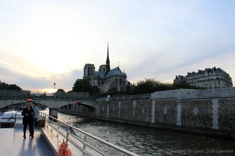 View of Notre Dame Cathedral from the top deck of our Bateaux Mouches dinner cruise along the Seine