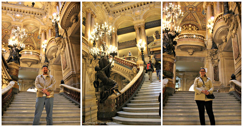 The steps of the Palais Garnier, featuring bronze statues, glittering chandeliers, and beautiful gold ornamentation along the walls and ceiling.