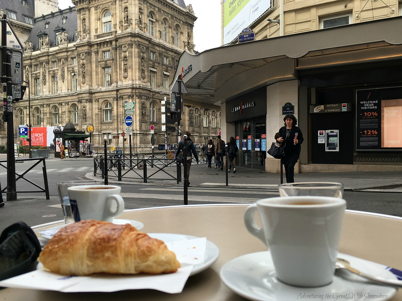 Delicious croissants and espresso at a cafe in Paris, one of the perks of saving some time with the Paris Museum Pass.